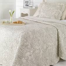 Shabby Chic Bed Linen Uk by Double Light Grey Toile De Jouy Quilted Shabby Chic Bedding Cover