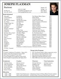 musical theatre resume template opera resume template singer resume sle musical theatre resume
