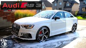 white and pink audi audi rs3 2018 full detail of a white car youtube