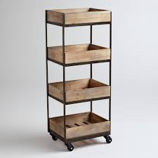 Rolling Bookcase Ladder by Office Crafted Of Pine With Distressed Brown Includes Shelves