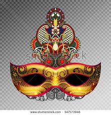 3d gold venetian carnival mask silhouette stock vector 548110123
