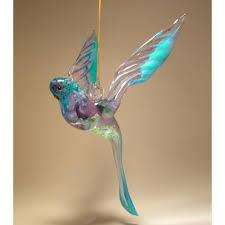 glass hanging blue winged parrot parakeet ornament glasslilies