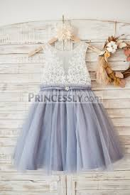 ivory lace gray tulle sheer back wedding flower dress with belt