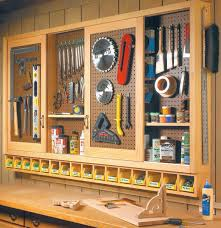 workshop sliding door pegboard tool storage plans http www