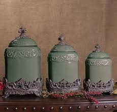 fleur de lis canisters for the kitchen set of 3 green fleur de lis kitchen canister set tuscan large