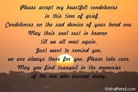 accept my heartfelt condolences in sympathy card message