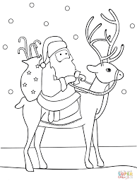 santa riding reindeer coloring pages download printable