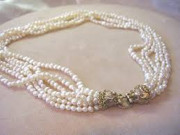 freshwater pearls necklace images Cultured freshwater pearl necklace 14kt gold diamond emerald jpg