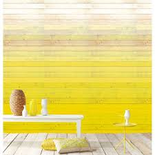 an ombre efffect wall mural with rustic wood panels in a vivid