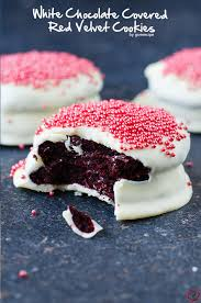 white chocolate covered red velvet cookies give recipe