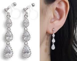 bridal clip on earrings bridal clip earring etsy