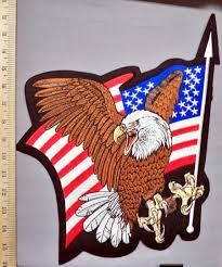 Bald Eagle And American Flag 5756 R Bald Eagle With Waving American Flag Large Back Patch