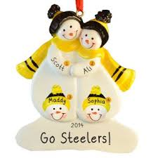 steelers snow family of 4 black yellow ornament personalized