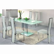 Dining Room Table Sets Leather Chairs by Ice Dining Table In Frosted Glass With 4 Dining Chairs White