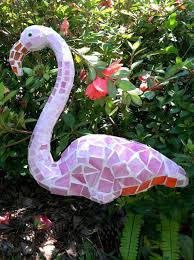 Flamingo Mosaic Garden Art Made From Plastic Dollar Store