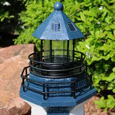 sunnydaze solar striped led lighthouse outdoor decor 36 inch tall