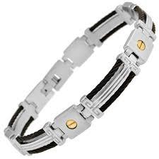 mens black link bracelet images Men 39 s black cable link bracelet in stainless steel and 14k gold jpg