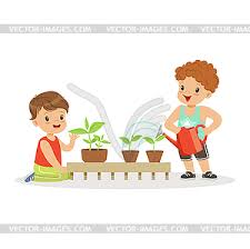 boys caring plants lesson vector clipart