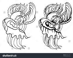 hand drawn chinese peacock tattooasian phoenix stock vector