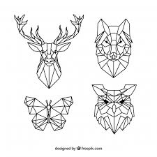 tattoo animal line pack of polygonal animal tattoos vector free download