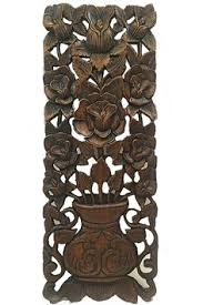 wood wall plaque wall carved wood wall decor floral