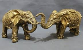 elephant statue a pair of exquisite chinese auspicious feng shui brass wealth