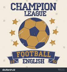 Football Flag Printing English Football Typography Soccer Fashion Design Stock Vector