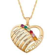 necklaces with names engraved heart family birthstone necklace for