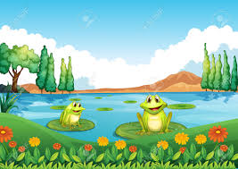 illustration of the two playful frogs at the pond royalty free