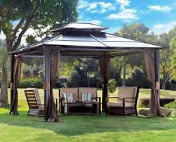 Gazebo For Patio 10 X 12 Hardtop Metal Steel Roof Outdoor Patio Gazebo W Aluminum