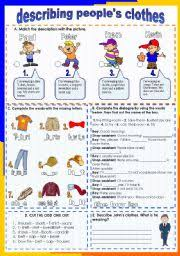 english teaching worksheets describing clothes