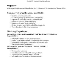 resume exle for server bartender waitress resume templates paso evolist co