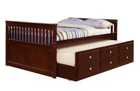 Full Size Bed With Storage Drawers Donco Cappuccino Full Captains Bed With Trundle And Drawers Kfs