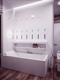 bathroom long lighted vanity mirror idea feat modern bathroom