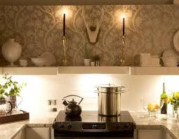 wallpaper kitchen backsplash contemporary kitchen