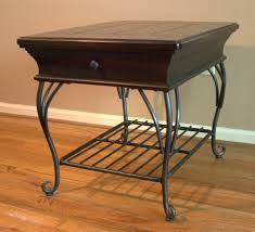 industrial crafted wood and wrought iron coffee table high quality