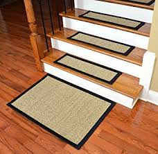 Stair Tread Covers Carpet Dean Attachable Non Skid Sisal Carpet Stair Treads Desert Black