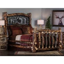 Cheap Log Bed Frames Rustic Aspen Log Bed With Metal Insert