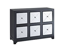 Mirror Chest Of Drawers Amazon Com Powell Company Mirrored 6 Drawer Wood Console Black