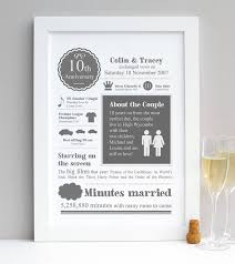 10th wedding anniversary gift personalised tenth wedding anniversary print by afewhometruths