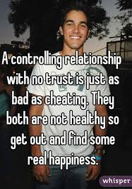 No Trust Meme - controlling relationship with no trust is just as bad as cheating
