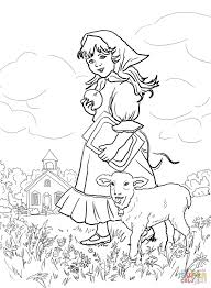 mary had a little lamb it u0027s fleece was white as snow coloring page