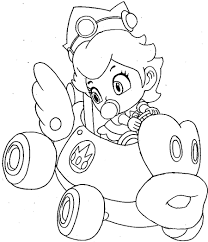 draw baby princess peach driving car wii mario