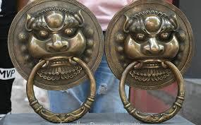 foo dog door knocker 16 china bronze feng shui foo fu dog guardion lion knocker