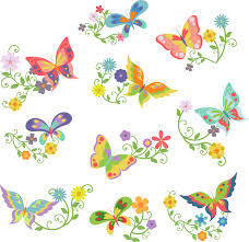 butterflies and flowers semi exclusive clip art set for digitizing