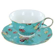 tea cup set shabby turquoise porcelain teacup and saucer set