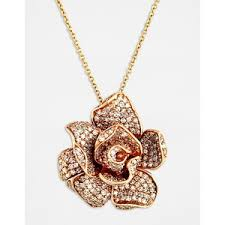 rose pendant necklace gold images Effy collection 14 kt rose gold diamond rose pendant neckla out=j