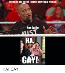 Ha Gay Memes - you know the rock s favorite curve on a woman her smile ha gay ha
