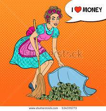Pop Art Rugs Pop Art Young Housewife Hiding Money Stock Vector 534335671