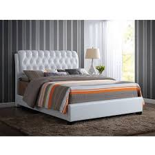 ACME Furniture Ireland Queen Faux Leather Bed With Tufted - White faux leather bedroom furniture